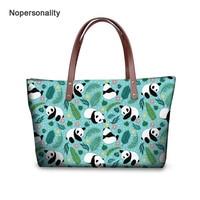 Nopersonality Cute Floral Panda Print Handbag Female Ladies Shoulder Bag Hipster Women Teen Girls Travel Tote Bag Large