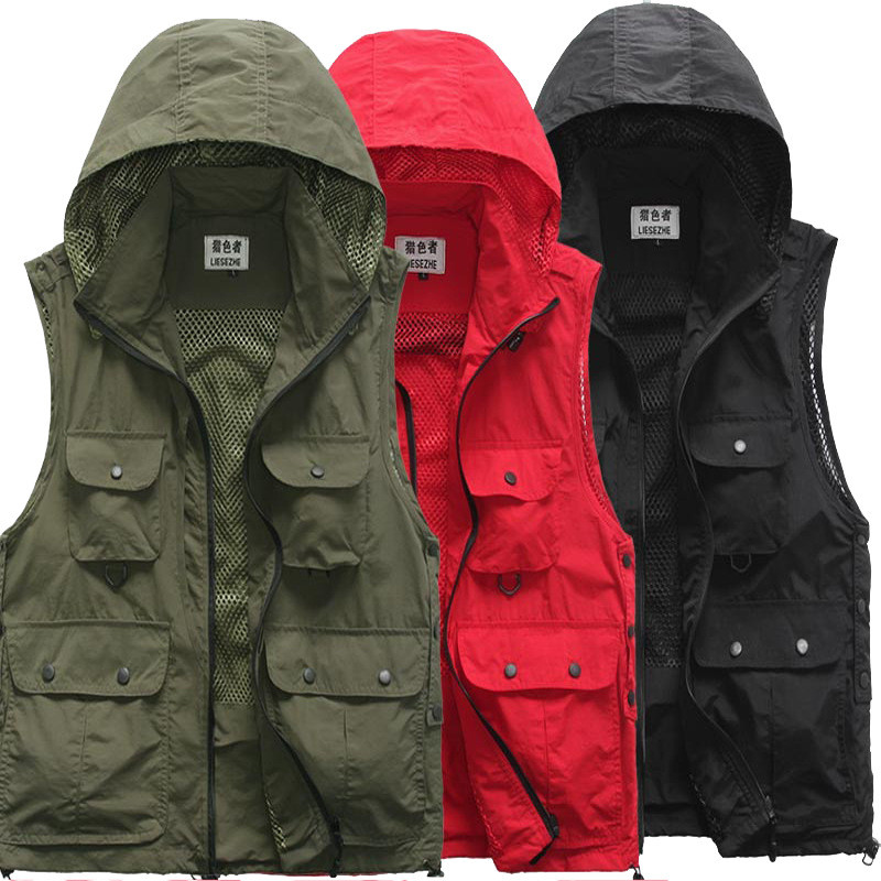 New Offer! Outdoor Sports Vests Breathable Quick Dry Hooded Vest For Fishing High Quality Solid Multi Pocket Hunting Vests M XXL