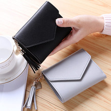 Mini Tassel Wallet Women Fashion Purse Female Short Mini Wallets Korean Students Lovely Purse Female Small Wallet for Women cheap Polyester 8 5 cm Coin Pocket Photo Holder Note Compartment Card Holder QB14 Hasp 100g 11 5cm Solid PU leather Casual Soft surface