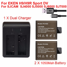 2 x 1050mAh Sport Action Camera Battery For EKEN H9 H9R H3R H8 H8R SJCAM SJ4000 SJ5000 H3 H3R Sport Mini DV Bateria+Dual Charger