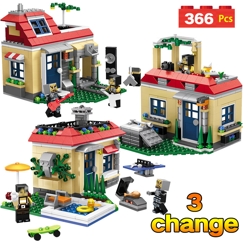 366PCS My World Poolside Holiday Villa Building Block Compatible Legoingly Minecrafted Brick Figures Toy For children цена