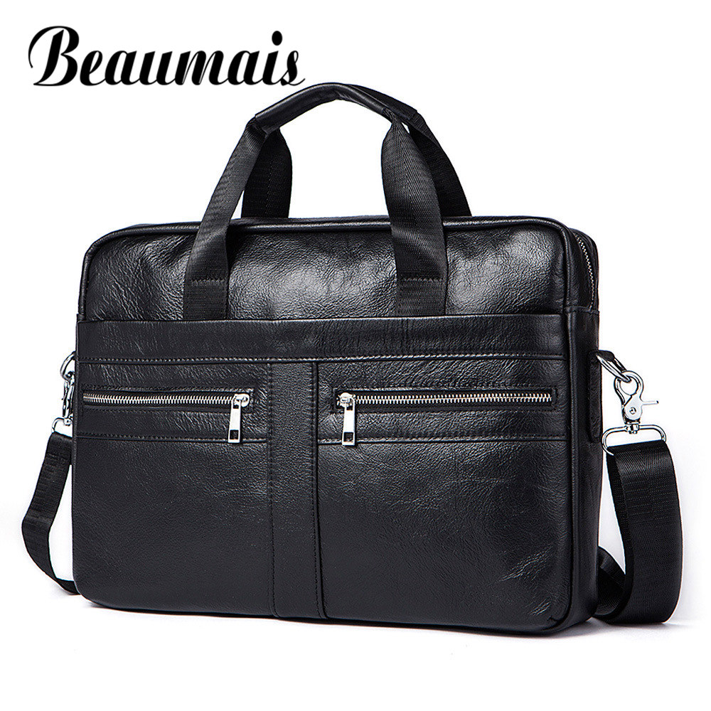 Beaumais Brand Designer Mens Real Leather Briefcase Bag Crossbody Bags Male Shoulder Bag Business Messenger Men Bags DF0320