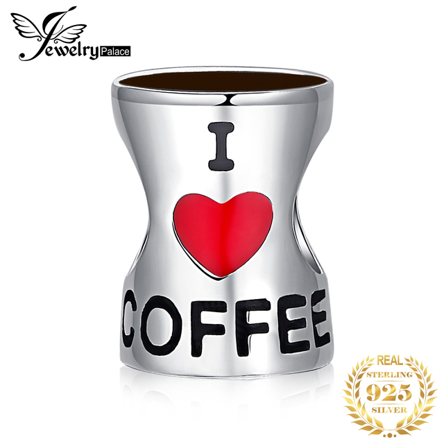 JewelryPalace 925 Sterling Silver Beads Heart Love Coffee Cup Beads Charms fit Bracelets Bangles Women Fashion Jewelry Gifts