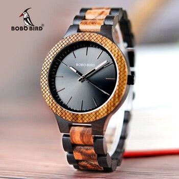 BOBO BIRD montres pour hommes rétro zèbre en bois Quartz bracelet fait main cadeaux articles en bois boîte relogio masculino C-D30-1