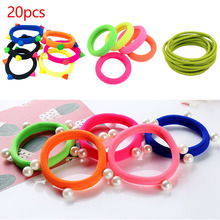 Cute Girls 20pcs/lot Candy Fluorescence Color Elastic Hair Bands Rubber Gum Maker Hair Ropes Ponytail Holder Hair Accessories 20pcs lot elastic hair bands gum hook ponytail holder bungee hair thick updo quick hair tool styling dresser hair accessories