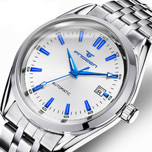FNGEEN Luxury Brand Stainless Business Men mechanical Watch Fashion Wristwatch  Male Calendar Waterproof clock relogio masculino carnival mechanical men watch phase moon leather strap double calendar stainless steel multi function clock relogio masculino