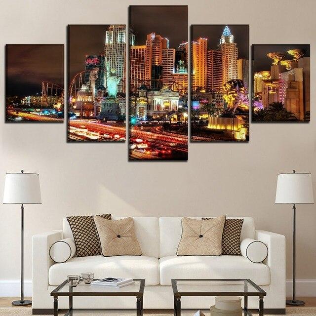 Modular Wall Art Poster Framework 5 Pieces Las Vegas City Painting For Living Room Home Decor Canvas Prints Landscape Picture