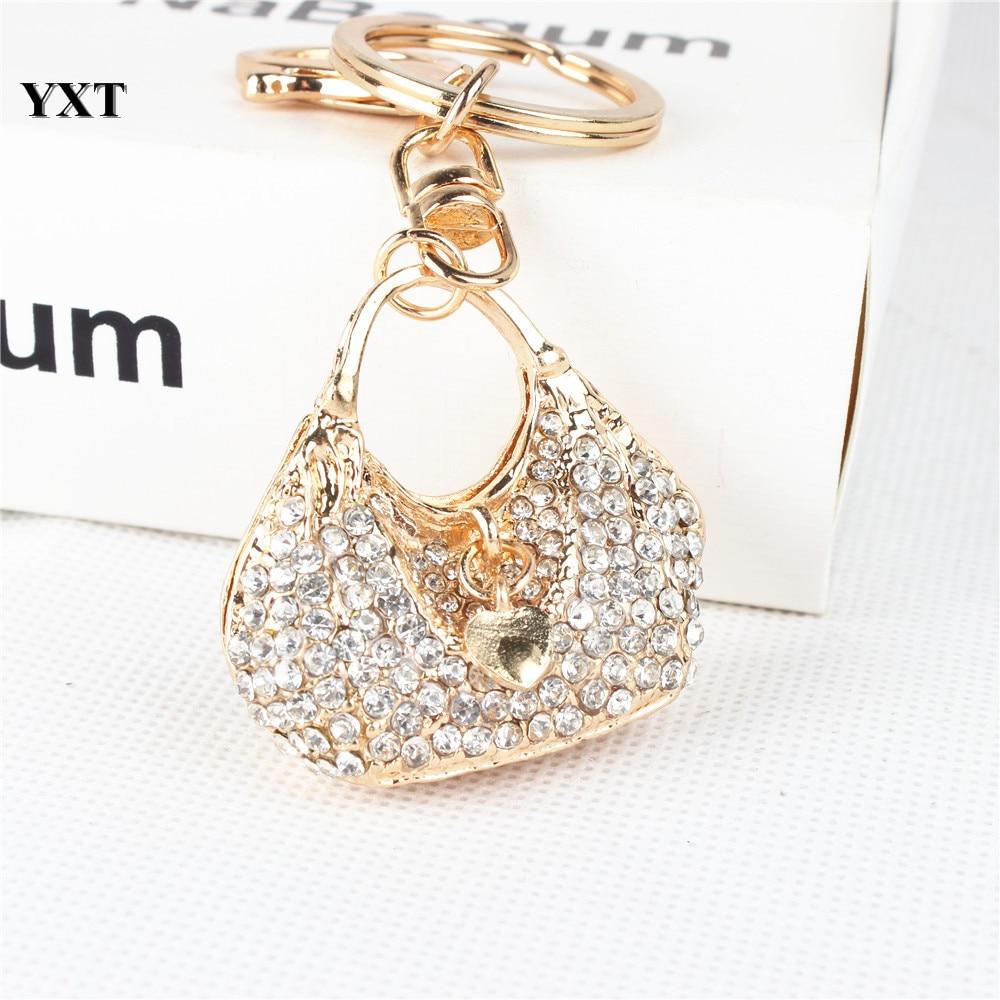 New Fashion Women Lady Handbag Love Heart Crystal Rhinestone Charm Pendant Purse Key Ring Chain Creative Birthday Gift