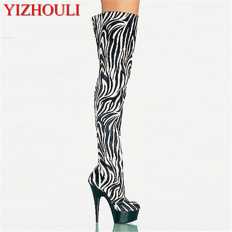 15cm Zebra PU Platforms Womens Boots 6 Inch High Heel Shoes Sexy Thigh High Dance Shoes