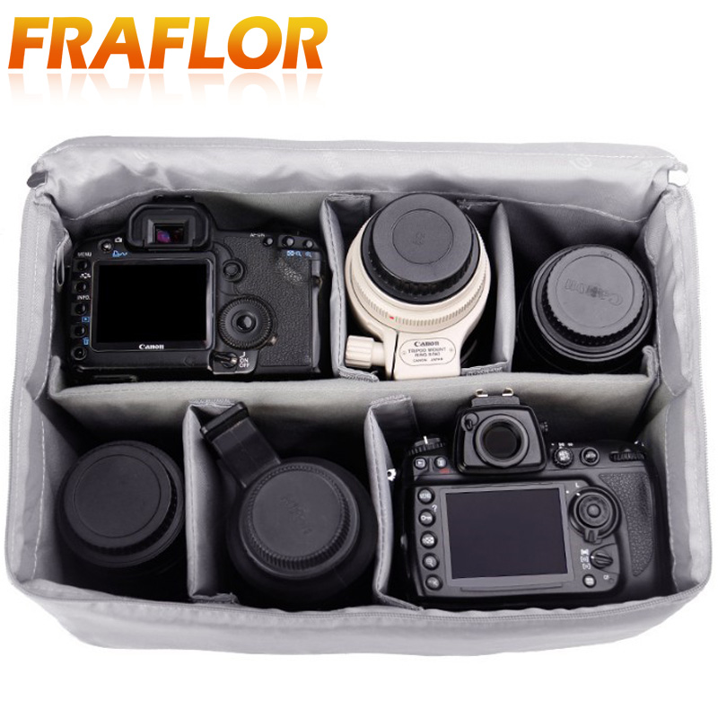 Padded-Handle Partition Protect-Pouch Dslr-Camera-Lens-Bag Inner-Divider Zipper-Insert title=
