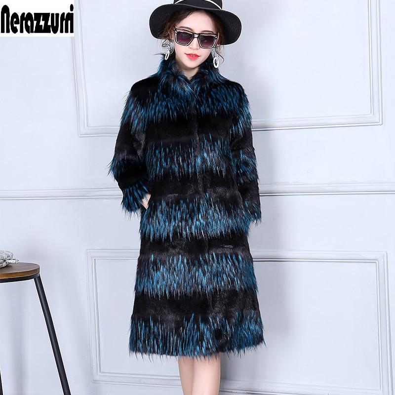 Nerazzurri Fluffy Faux Fur Coat Women Gradient Furry Fake Fox Fur Jacket Winter Warm Long Haired Plus Size Outerwear 5xl 6xl