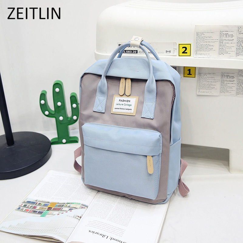 ZEITLIN Wild Minimalist Waterproof Canvas Backpack Small Fresh Female On Korean College Student Travel Backpack Bag Mochila S241
