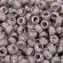 100Pcs Mixed Color Big Hole Crystal Spacer Glass Beads Murano fit Pandora Bracelet Charms Chain Necklace for Jewelry Making