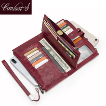 Cellphone Clutch Bag For Ladies Genuine Leather Women Phone Wallets Large Red Zipper Coin Purse Card Holder Trifold Long Wallet