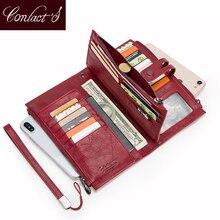 Telefon komórkowy kopertówka dla pań prawdziwej skóry kobiet portfele na telefon duży czerwony zamek monety kiesy posiadacz karty Trifold długi portfel