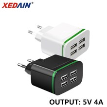 XEDAIN 5V 4A Universal 4 Ports USB Charger EU Plug Travel Wall Charger Power Adapter For Samsung LG iPhone iPad Sony HTC Tablets цена