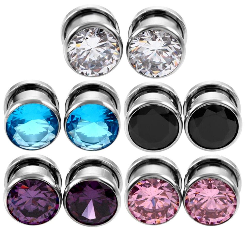 Pair Steel Crystal Zircon Plug Tunnel Earring Plugs Expanders Gauges Screw Flesh Plugs and Tunnels Earring Body Jewelry
