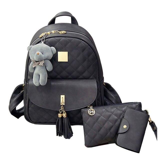 3 Pcs Bear Backpack Women Bag Diamond Lattice School Bags For Girls  Backpacks For Women 2018 86834cf3bd0a3