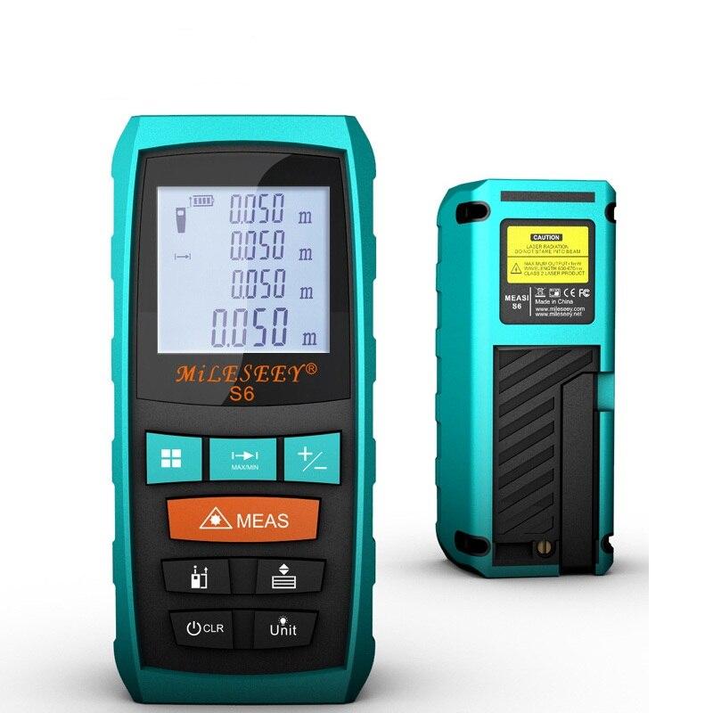 Mileseey Télémètre S6 40 m 60 m 80 m 100 m Laser Mètre de Distance Bleu Numérique Range Finder Mesurer la Distance /région/volume Véritable