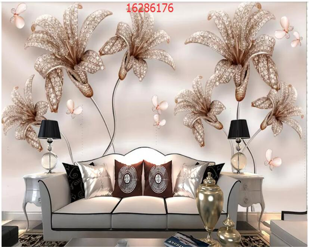 beibehang Custom size luxury 3D stereo embossed romantic jewelry flower marble TV background wall behang wallpaper