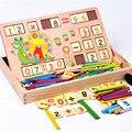 Matemática do bebê Clássico Brinquedo De Madeira com 100 PCS Varas & 70 PCS De Madeira Número Do cartão & Caixa De Madeira educacional Cedo brinquedo de Montessori
