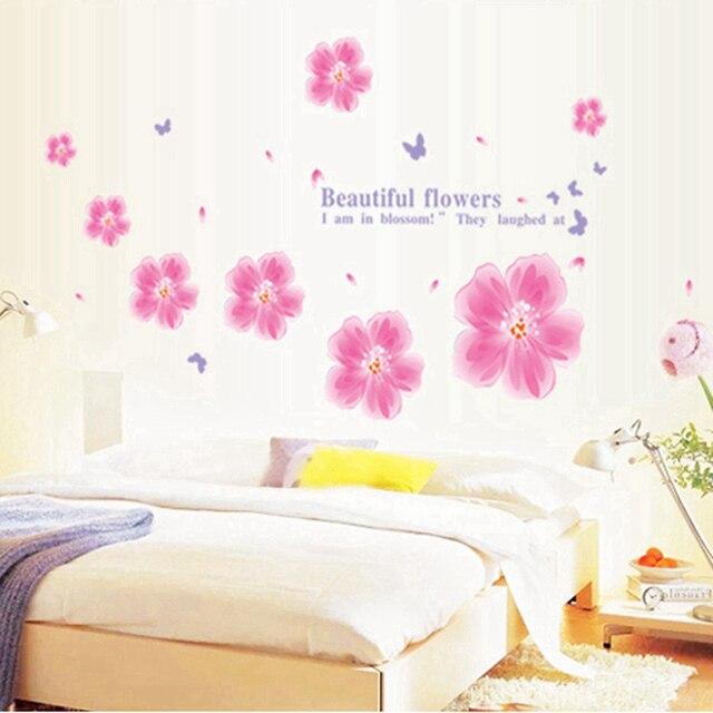 X Cm Pink Flower Wall Decal Headboard Wall Decorin Wall - Wall decals headboard
