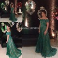 Verde oscuro Del Hombro Formal Elegante Vestido de Noche Con Mangas de Encaje de Baile Vestidos Largos Vestidos de Fiesta Para Bodas
