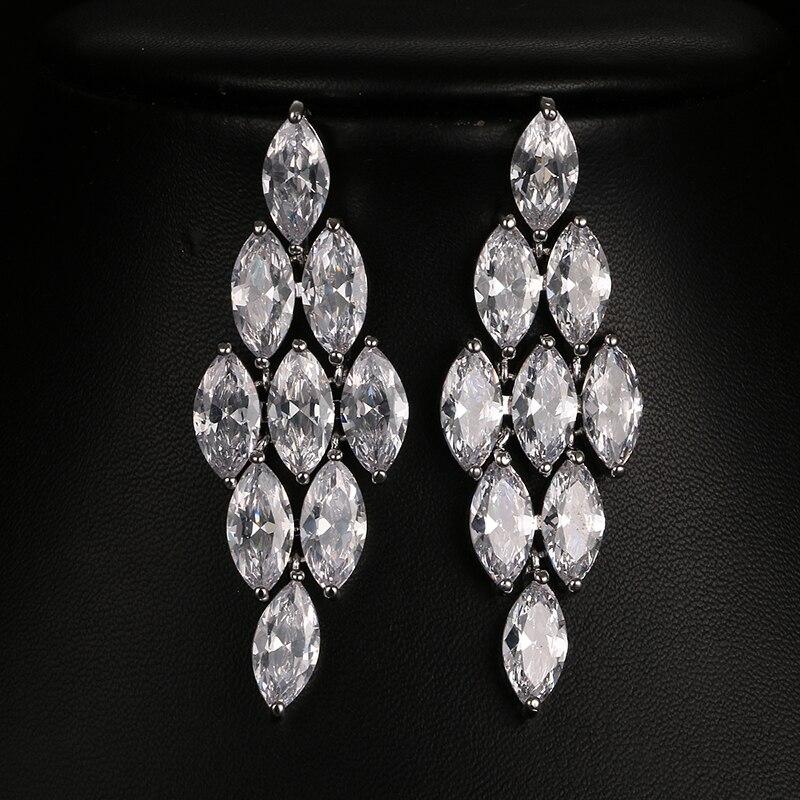 Begeistert 2017 Hohe Qualität Österreichischen Kristall Marquise Cut Baumeln Ohrring Schöne Cz Ohrringe Für Hochzeit Brautschmuck E-014