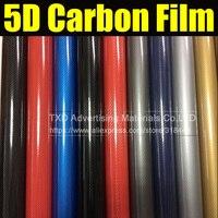 1,52*20 м/рулон супер глянцевое золото 5D Углеродное Волокно Винил 5D углеродное волокно обертывание 5D углеродное волокно пленка для автомобиля