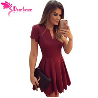 Dear Lover Burgundy Sweet Scallop Pleated Skater Dress LC22635
