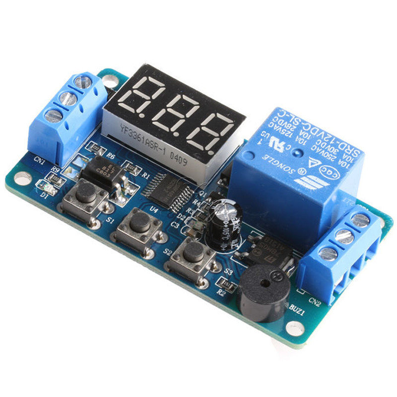 DC 12V LED Display Module Programmable Time Timer Relay Module Delay Module Switch Board Car Buzzer dc 12v relay multifunction self lock relay plc cycle timer module delay time switch