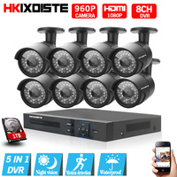 Home Security 1080P 8CH DVR 8PCS 960P 1 3MP 2500TVL IR CUT Black Bullet Waterproof CCTV