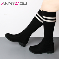 ANNYMOLI Sock Boots Winter Knee High Boots Women White Stripe Platform Tall Boots Fashion Ladies Shoes Black Brown Size 42 43