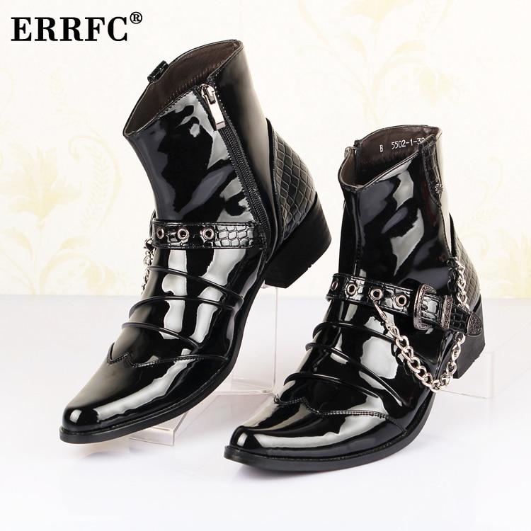 ERRFC Fashion Forward Spitz Männer Schwarz Ankle Boot Trend Schnalle Lackleder Schuhe Mann Ketten Charme Show Party Schuhe-in Motorradstiefel aus Schuhe bei  Gruppe 1