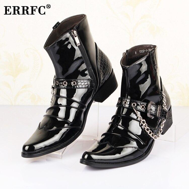 Errfc الأزياء الأمام الاتجاه مشبك الكاحل التمهيد براءات أشار تو الرجال السود الأحذية الجلدية الرجل سلاسل سحر حزب مشاهدة-في أحذية للدراجات النارية من أحذية على  مجموعة 1
