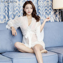 f71b6d1f4 Lace transparent Net yarn Cardigan Long sleeves Dew Pajamas Dress sexy  lingerie erotic sexy underwear lenceria