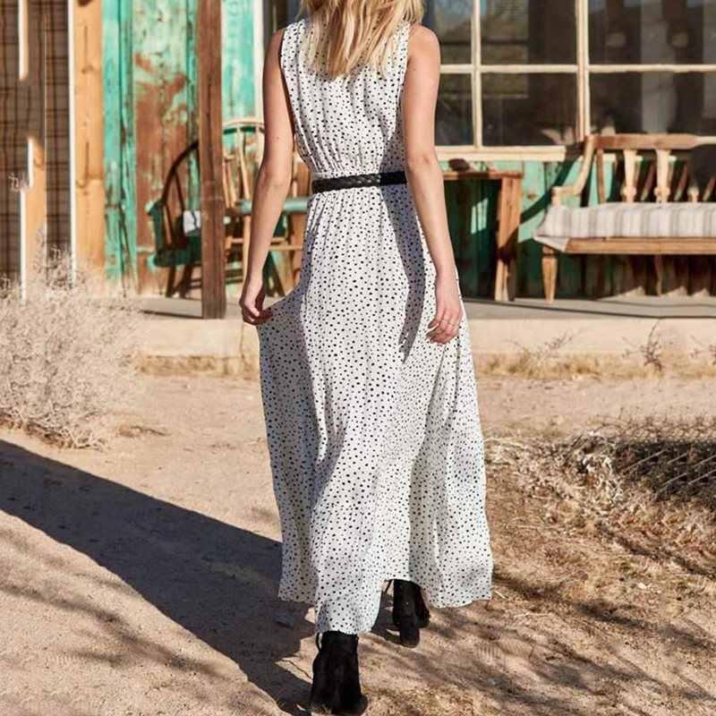 Robe Maxi blanche à pois élégante Vintage mode femmes sans manches à lacets été 2019 Sexy V profond Boho grande balançoire robes longues