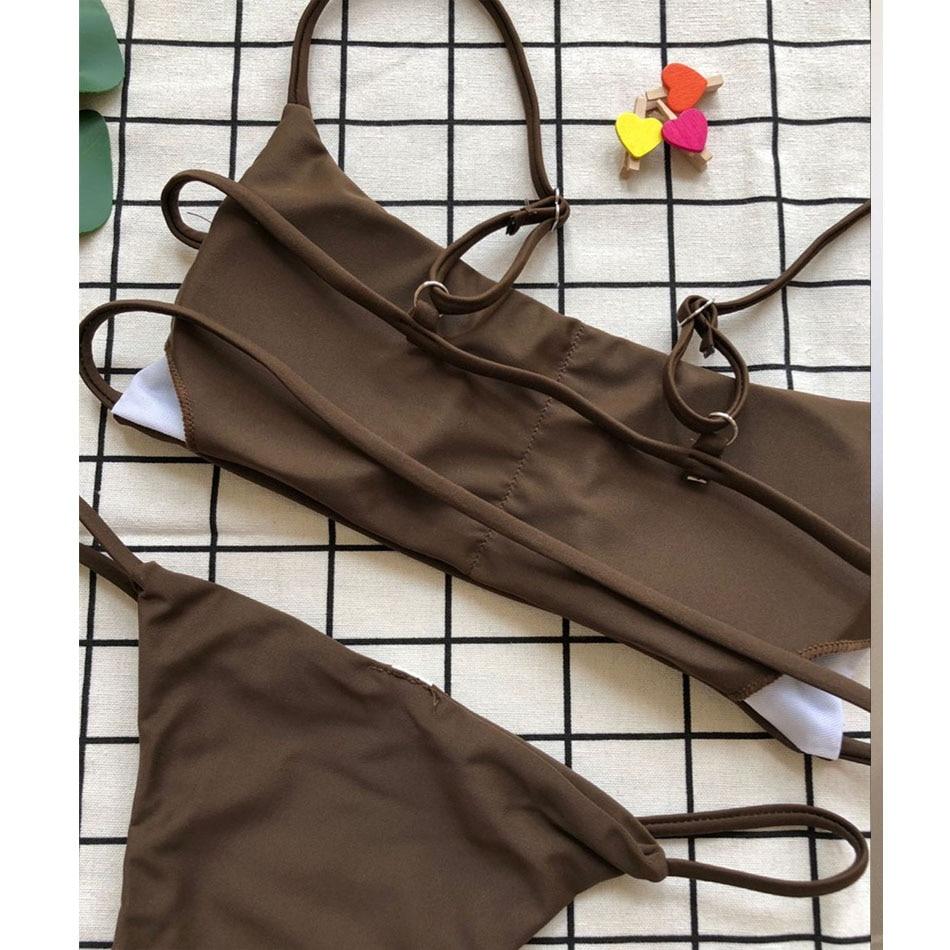 ec377931b87 Sexy Solid Bikini Swimwear Women Push Up Swimsuit Bandage Bikini Set  Brazilian Summer Beach Bathing Suits. sku: 32981765124