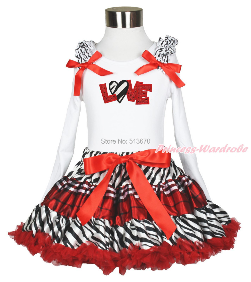 Valentine Zebra Heart Red Sparkle Love White Top Red Black Plaid Skirt Set 1-8Y MAPSA0351 женские колье esprit серебряное колье esnl 91862 a 40