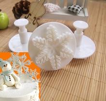 3Pcs Christmas New Year Snowflake Fondant decorating tools Cake tool biscuit mold baking DIY Baking Tools