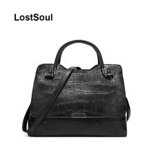 LostSoul Vintage women Top-Handle bag women alligator luxury handbag women bags designer aligator briefcase moto biker totes(China)