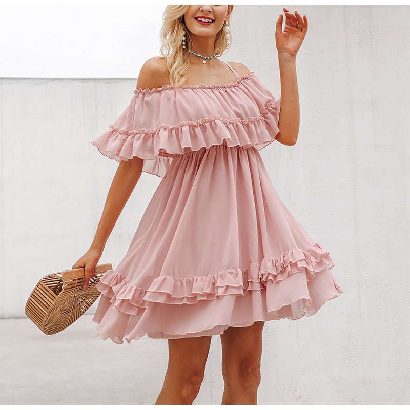 Chiffon Summer <font><b>Dresses</b></font> Casual Ruffle Pleated <font><b>Sexy</b></font> Off Shoulder Short <font><b>Dress</b></font> <font><b>Women</b></font> Elegant Beach Loose Mini <font><b>Dress</b></font> <font><b>Blue</b></font> <font><b>Pink</b></font> <font><b>Dress</b></font> image