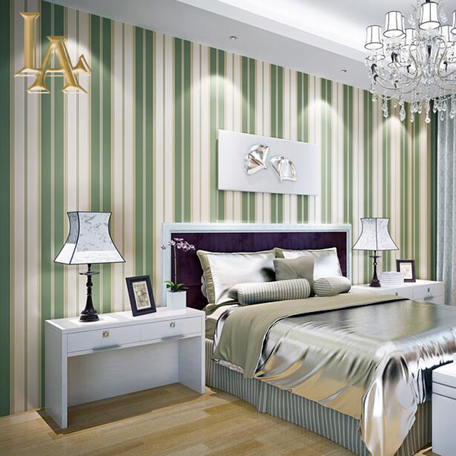 Fashion Modern Desktop Striped Bedroom Wallpaper For Walls Simple Luxury  Decor Coloring Green Striped Wall Paper