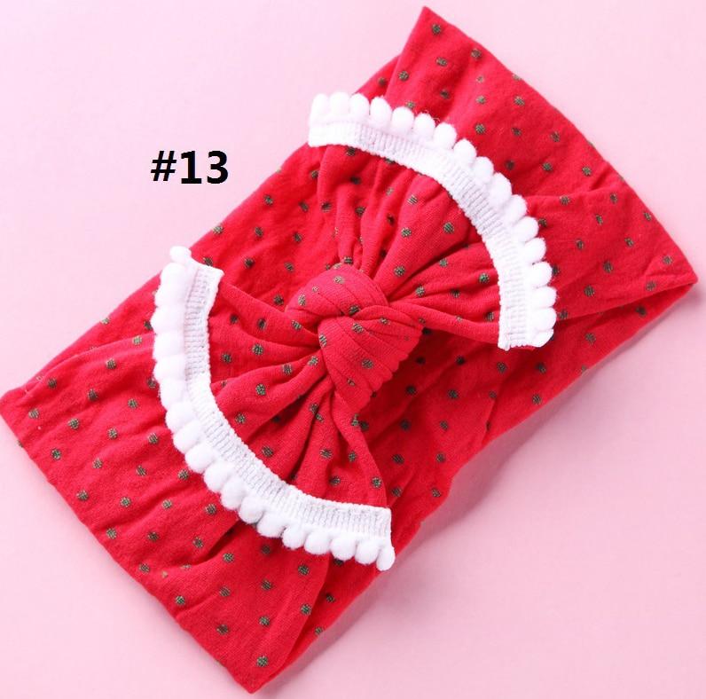 12PClot Pompom Trim Nylon Turban Headband Newborn Polka Dot Knot Bow Headband,Nylon Bow Headwraps Girls Hair Accessories