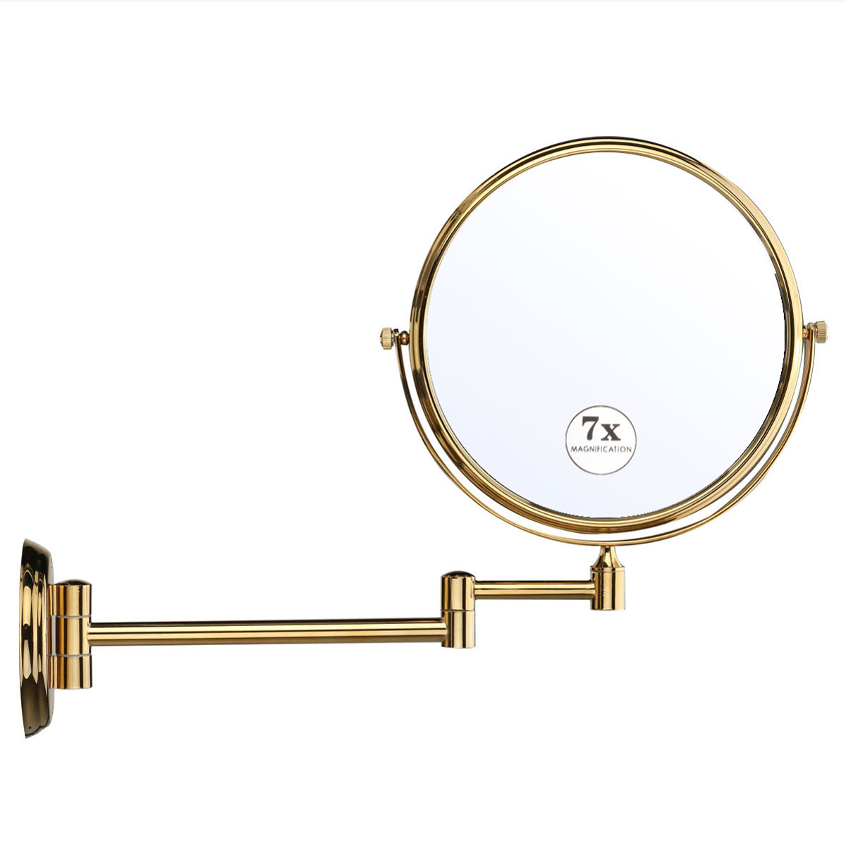 7x Magnifying Hair Mirror 8 Dual Side Brass Round Folding Mirrors Vanity Bathroom Shave Wall Mounted Extend With Arm Mirror bath mirrors 8 double side brass shave makeup mirror chrome hotel wall mounted extend with arm round base 3x magnifying 1758