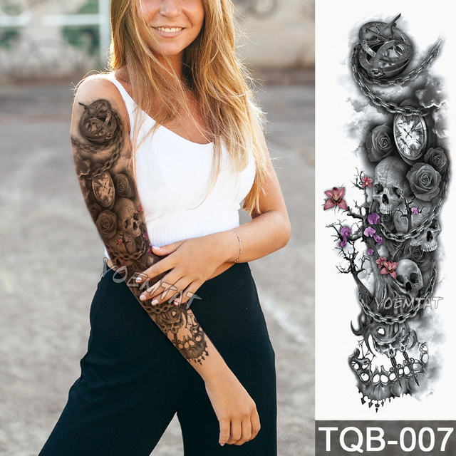 Us 1 58 5 Off New 48 17cm Full Flower Arm Tattoo Sticker Modern Gear Skull Clock Rose Temporary Body Paint Water Transfer Fake Tatoo Sleeve In