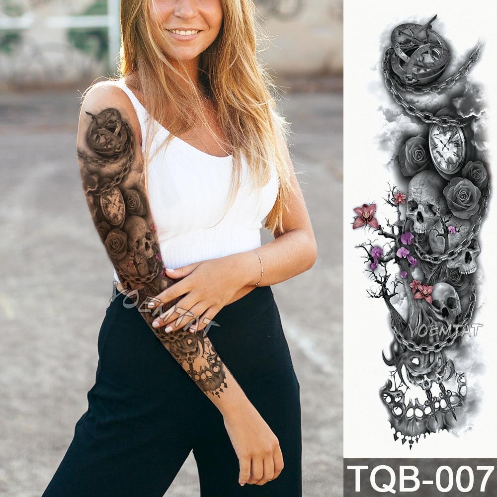 NEW 48*17cm Full Flower Arm Tattoo Sticker Modern gear skull clock rose Temporary Body paint Water Transfer fake Tatoo sleeve