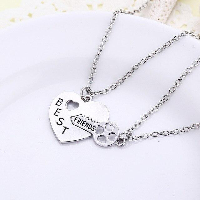 2c42747592 Best Friend Necklace Peach Heart Key Pendant Necklace Set Alloy Pendant  Necklace Wholesale 24pcs/lot