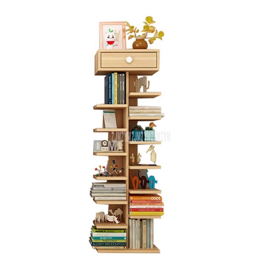 8 Tier Bookcase Simple Tree Partitions Simple Modern Living Room Storage Display Cabinet Bedroom Children Wooden Bookshelf