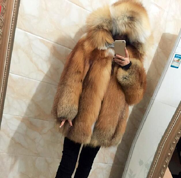 290c288adab Russian style thicken warm natural real red fox fur coats with hood for  women luxury whole skin genuine fur hooded jacket female